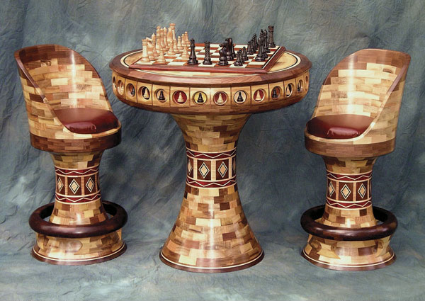 Segmented Game Table And Chairs Finewoodworking
