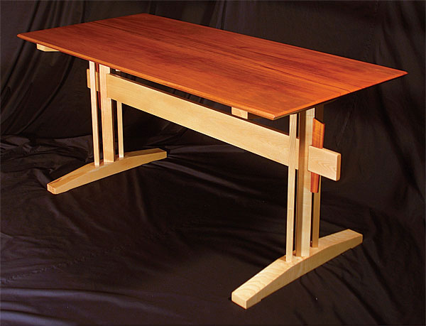Ash And Mahogany Trestle Table Finewoodworking