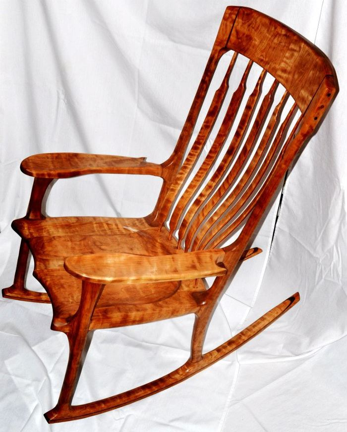Beau Figured Cherry And Walnut Accent Rocking Chair