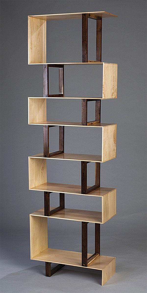 zig products modernstop zag bookcase terra bookshelf caramel