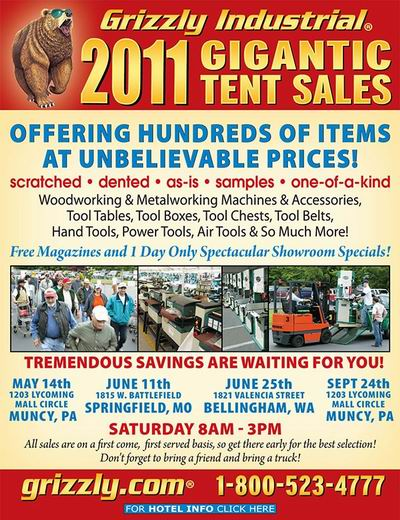 Grizzly 39 s tent sale a great source for tool bargains for Fine woodworking magazine discount