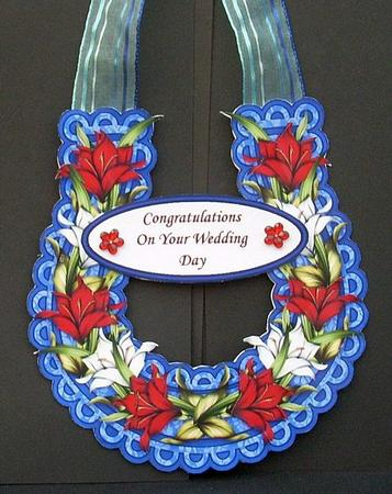 Red white and blue lilies wedding horseshoe keepsake for Horseshoe crafts for sale