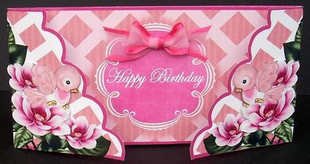 Cerise Birds Happy Birthday Fancy Lattice 3d Card Kit