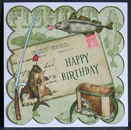 Olive Fishing Happy Birthday 8in Decoupage Step by Step ...