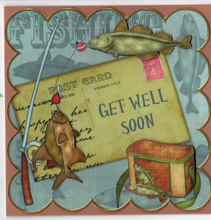 Grey Fishing Get Well Soon 8in Decoupage Step By Step