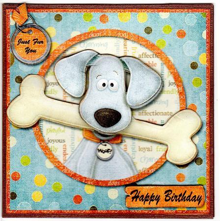 Dog With Bone Happy Birthday Card Insert Photo By Susan Schmidt