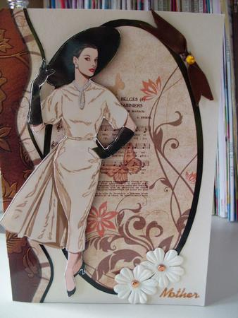Mothers day elegant lady decoupage in brown cream for Classy mothers day cards
