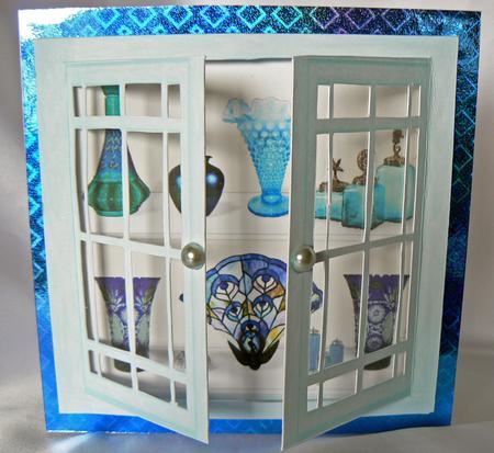 Acetate Open Amp Shut Windows Green Glass Display Cabinet