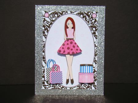 Teen Girl Brunette Boxes Bags In Hot Pink A5 Decoupage