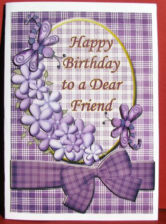 Happy Birthday Dear Friend Purple Quick Card Front Photo By