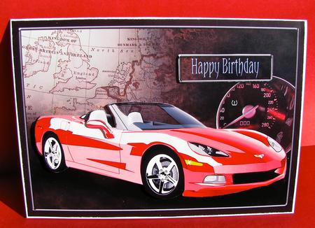Red Sports Car Decoupage Birthday Driving Test