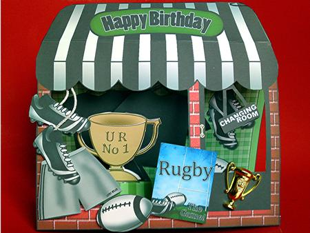 3D the Little Rugby Shop Window Pop Up Card Decoupage – Rugby Birthday Cards