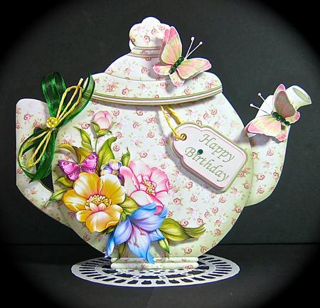 Teapot Shape Card Green amp Peach Floral amp Decoupage Card