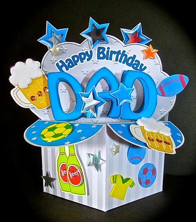 3d Birthday Dad Diagonal Words Rubber Band Pop Up Box Card