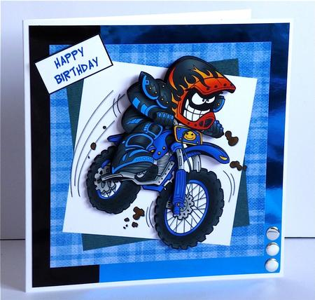Dirt Bike Mike Offroad Motorcycle Step by Step Card – Motocross Birthday Cards