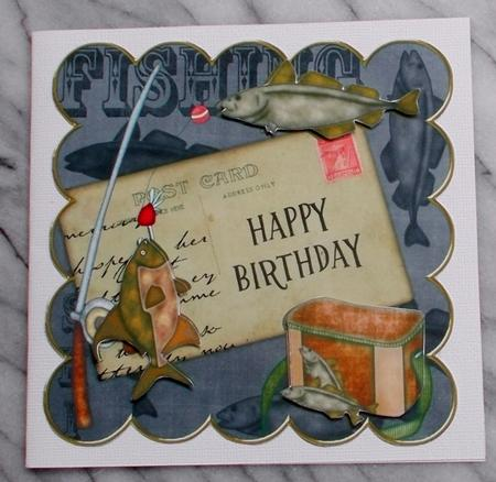 Black Fishing Happy Birthday 8in Decoupage Step by Step ...