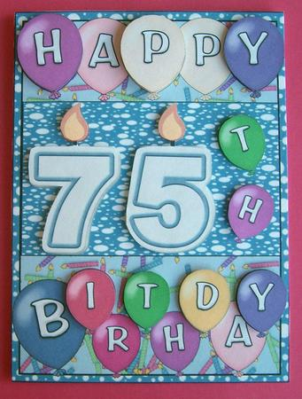 Male 75th Birthday Candles Card Front
