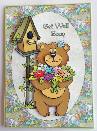 Get Well Soon Flower Bouquet Bear Card Front And Decoupage