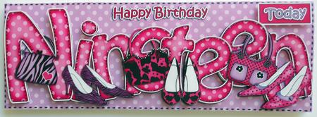 19th Birthday Large Dl Quick Card N 3D Decoupage CUP405023359 – Happy 19th Birthday Cards