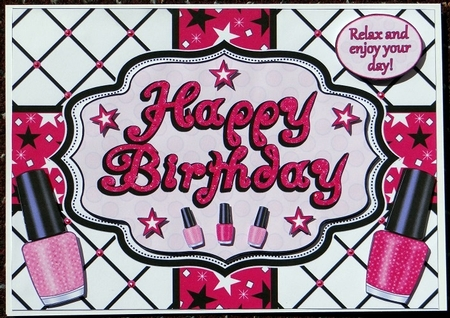 Happy Birthday Nail Polish Quick Card A5 Photo By Giselle Topper