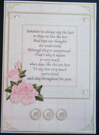 Mothers Birthday Poem Floral Quick Card Cup57074614 Craftsuprint