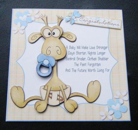 A Baby Will Cute Giraffe New Baby Boy Card CUP164978