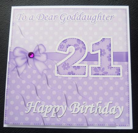 21st Birthday Goddaughter Felties Wavy Corner Side Stacker – Goddaughter Birthday Cards