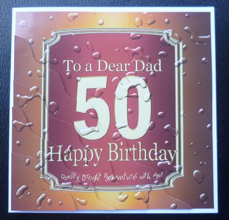 50th Birthday Dad Beer Label Wavy Corner Side Stacker Topper