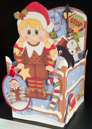 3d Christmas Rubber Band Pop Up Box Card Christmas