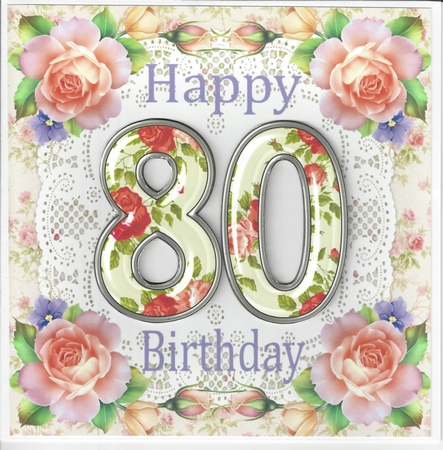 Large Rose Age 80 Birthday Card Front
