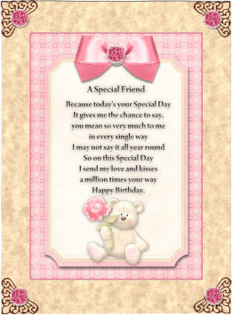 a special friend card front with verse pink photo by jan barcelo