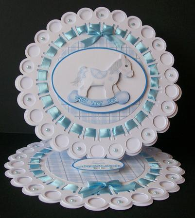 Sweet Baby Boy Rocking Horse Decoupage Topper by Elaine Sheldrake