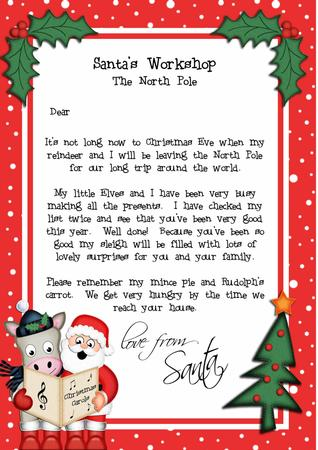 Christmas Santa Amp Gigi Horse A4 Child S Letter From Santa