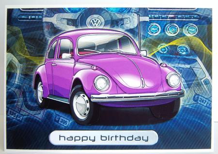 Happy Birthday Brother Volkswagen Beetle Classic Purple - CUP255144_971   Craftsuprint