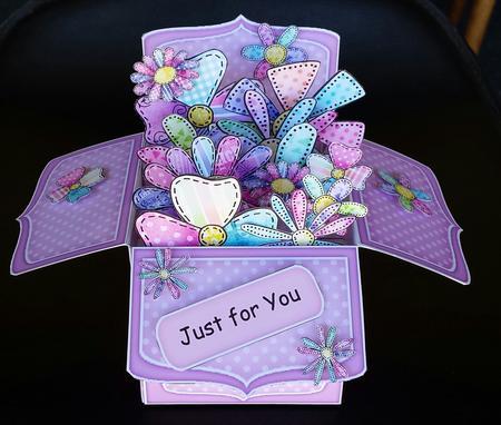 3d Patchwork Petals Rubber Band Pop Up Box Card