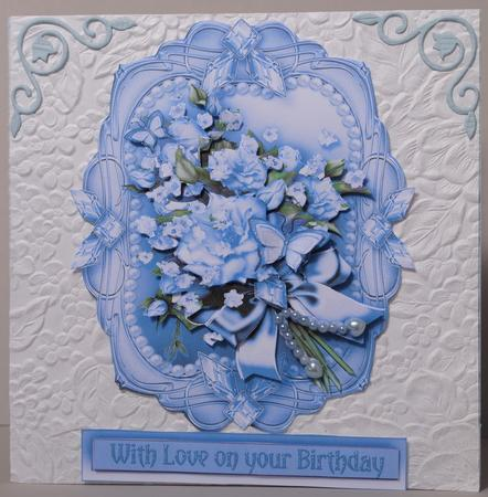 Vintage Blue Roses Bouquet In A Frame Decoupage