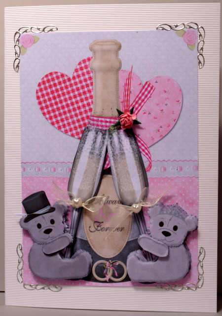 champagne and teddy bears - cute wedding card