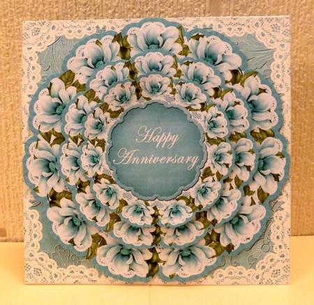 Teal Magnolia Happy Anniversary 3d Doily Card Mini Kit Photo By