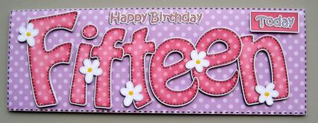 15th Birthday Large Dl Quick Card N 3D Decoupage CUP401112359 – 15th Birthday Card
