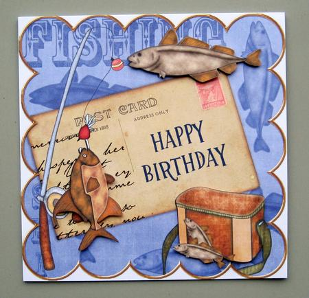 Blue Fishing Happy Birthday 8in Decoupage Step by Step ...