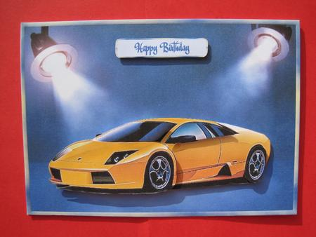Lambougini Car Decoupage Various Male Card CUP120343758 – Birthday Cards with Cars