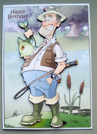 Wondrous Fishing Dude Big Fish A4 Cup508856 437 Craftsuprint Personalised Birthday Cards Xaembasilily Jamesorg