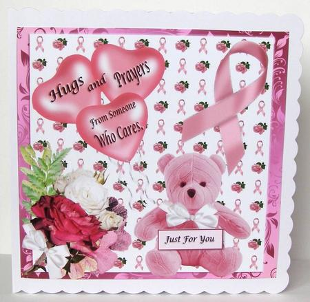 Breast Cancer Hugs And Prayers Card Topper Cup483942