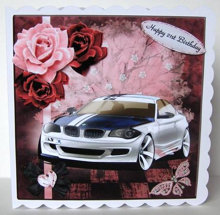 Wishful Surprise Bmw Car Topper With Decoupage Cup550964