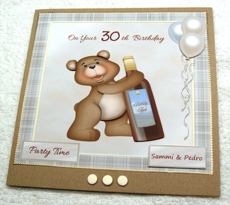 30th Birthday Card With Teddy Bear Wine Balloons Photo By