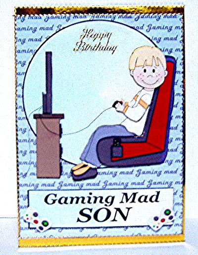 Gaming Mad Son Birthday Card Front 2