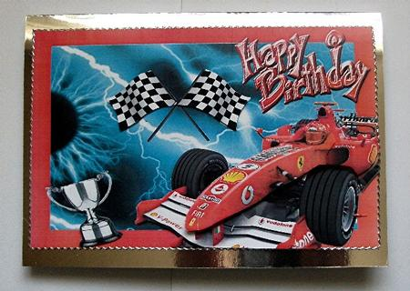 Fire red formula 1 decoupage photo by maxine jones for F1 car cake template