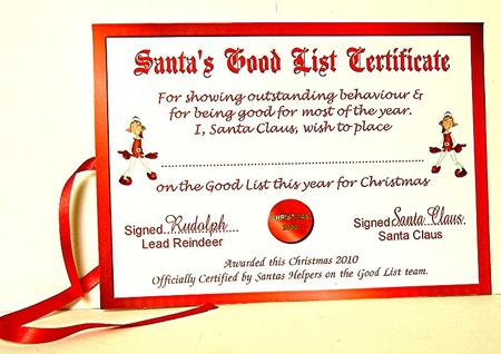 Santas good list certificate topper cup130506631 craftsuprint photographs from the community yelopaper Images