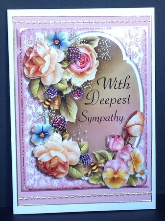 Rose With Deepest Sympathy A5 Card Topper Cup719250 1416