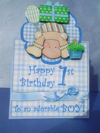 Happy 1st Birthday Adorable Boy Vertical Foldback Card